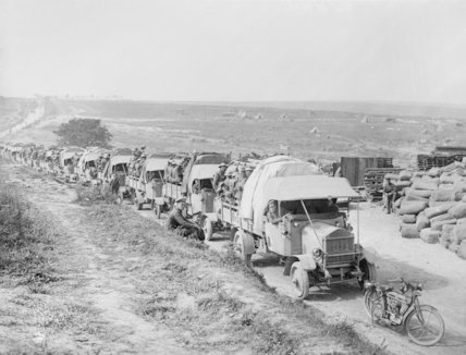 Column of lorries with men of the 16th Irish Division going back for a rest after taking Guillemont, 3 September 1916.