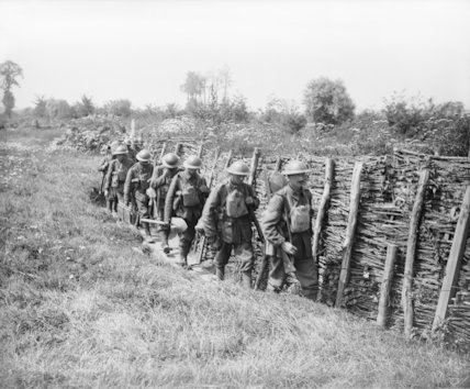 Irish Guards going up a communication trench. Elverdinghe, 30 July 1917.