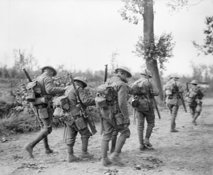 Battle of Albert. British troops, blinded by gas, assisting each other to the dressing station at Croisilles, 21 August 1918.