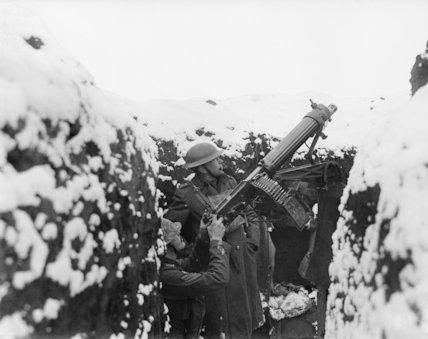 A machine-gun mounted for anti-aircraft firing, 13 January 1918.