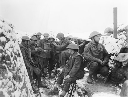 Men of the York and Lancashire Regiment on the 62nd Division front (Oppy-Gavrelle). An Officer holding a gas-respirator inspection.