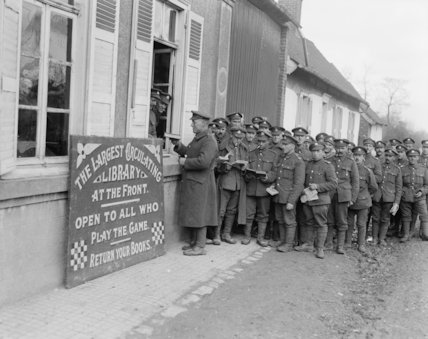 Troops outside the 34th Divisional Library Frevent, 26 February, 1918.