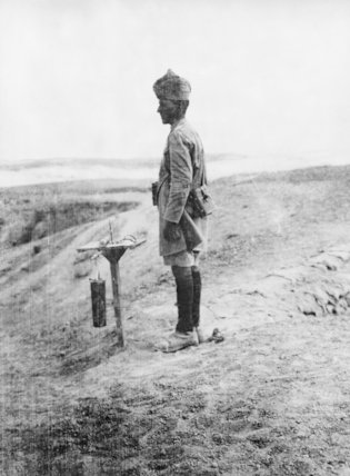 A gas sentry of the 58th Vaughan's Rifles (Frontier Force). December 1917.