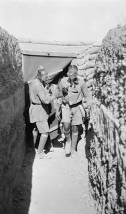 Sepoys leaving the gas chamber, during anti-gas course.