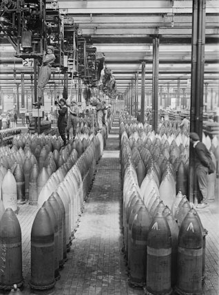Girls operating cranes in a shell-filling factory at Chilwell, Nottingham.