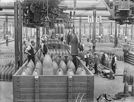 Shells being lowered into railway trucks, shell filling factory Chilwell.