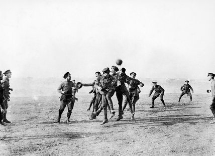 Officers and men of 26th Divisional Ammunition Train (Army Service Corps) playing football in Salonika, Christmas 1915.