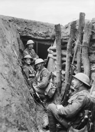 Troops of the 3rd Battalion, Royal Fusiliers, 85th Brigade, 28th Division manning a trench near Bairakli Jum'a, May 1917.