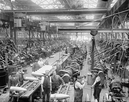 Interior of a British shell factory during the First World War.