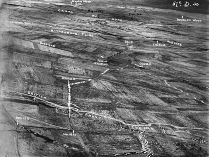 An aerial photograph of part of the battle area from the British Front to Bourlon Wood where the British advance was halted.
