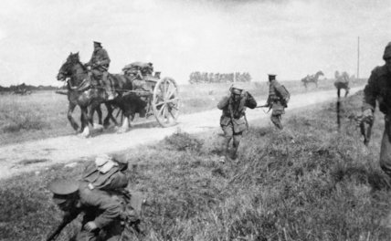 British troops come under shrapnel fire from German artillery on the Signy-Signets road during the Battle of the Marne on 8 September 1914.