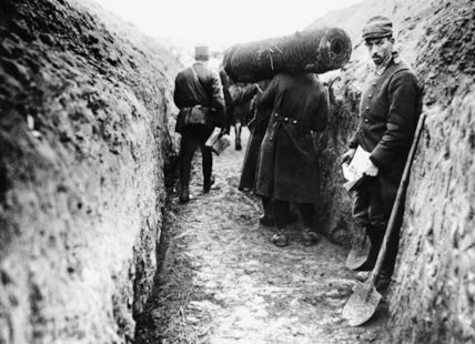 A French wiring party in a section of trench in the Argonne in 1914.