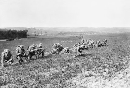 German infantry preparing to advance in extended order across open country during the assault on Fismes, 28 May 1918.