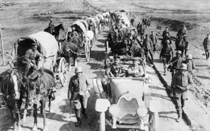 A German transport column moving forward along the Albert - Bapaume road, March 1918.