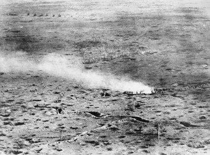Troops advancing across the Somme battlefield. Photo taken from an aeroplane.