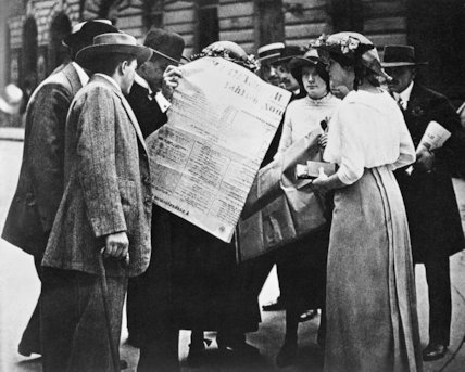 Citizens in Budapest read about the Austro-Hungarian Army's mobilisation, 30 July 1914.