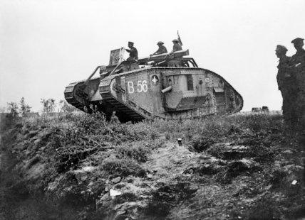 A 2nd Battalion Mark V Tank leaving for an attack, La Molte en Santerre, Somme, 8 August 1918.
