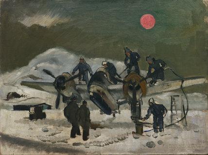 A Beaufighter being de-iced