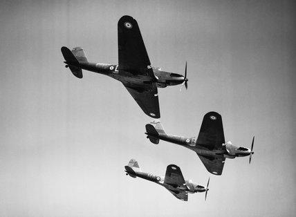 Three Fairey Battle Mark Is, K9325 HA-D, K9324 HA-B and K9353 HA-J, of No. 218 Squadron RAF.