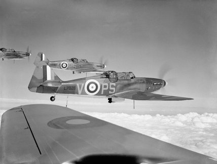 Defiant Mark Is, including L7026 PS-V and N1535 PS-A, of No. 264 Squadron RAF.