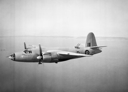 Marauder Mark I, FK375 D Dominion Revenge, of No. 14 Squadron RAF based at Fayid, Egypt, in flight. This aircraft was lost during a torpedo attack off Aghios Giorgios Island on 3 January 1943.