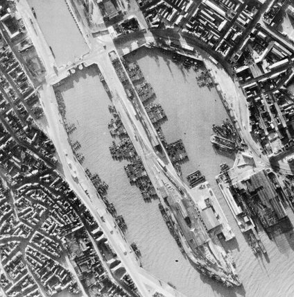 German invasion barges in Boulogne Harbour, France, June 1940.