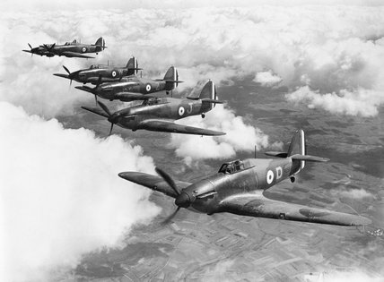 Six Hurricane Mark Is of No. 73 Squadron RAF, based at Rouvres, France, flying in loose echelon formation.