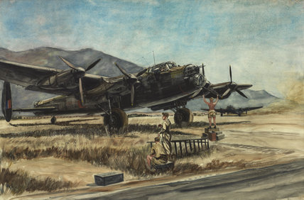 'The First Lancaster Bomber Aircraft to Land in North Africa from England after Bombing the German Base at Friedrichshafen, 1943'