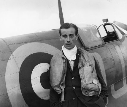 Flying Officer Neville Duke of No 92 (East India) Squadron with his Spitfire at RAF Biggin Hill, 1941.  After the war, Neville Duke became one of Britain's leading test pilots and broke the World Air Speed Record in 1953