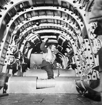 The interior of a RAF Short Stirling bomber, Britain, 1941