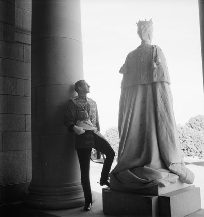 Captain Lord Euston, Grenadier Guards and Aide de Camp to the Viceroy, photographed with a statue of Queen Mary at the Viceroy's House, New Delhi, India, 1944.  After the war, Lord Euston devoted himself to the conservation of historic buildings