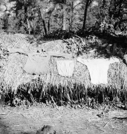 A soldier's laundry dries in the sun on the roof of a jungle basha (grass hut) in the Chin Hills, Arakan, Burma, 1944