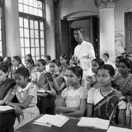 A class at one of the oldest school for girls in Bengal, the Victoria Institute in Calcutta, 1944