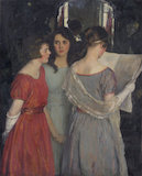 Portrait of three girls in interior