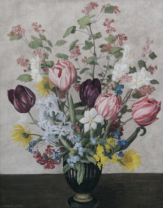 Flowers in a Black Vase