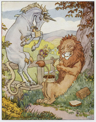 The Lion and the Unicorn published in Ring o' Roses, London: Frederick Warne & Co (pl.7)
