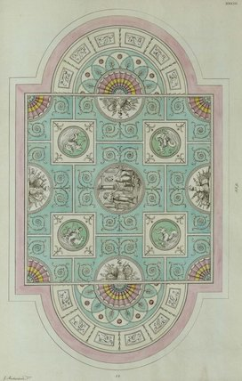 Design for a hall ceiling from A Book of Ceilings composed in the style of the Antique Grotesque, London 1776 (plate XXXIII)