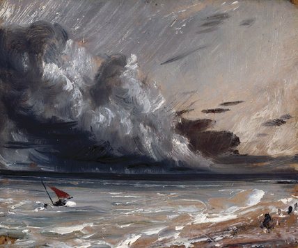 Seascape Study: Boat and Stormy Sky