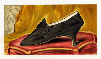 Shoe said to have belonged to Mary Queen of Scots; from T. Watson Greig, from 'Ladies' old-fashioned shoes', 1885