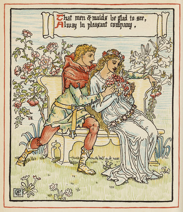 That men & maids be glad to see ...', from Walter Crane's 'Queen Summer, or the Tourney of the Lily & the Rose', London [&c.]: Cassell & Co., 1891