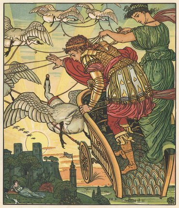 The Fairy of the Desert carries off the King of the Gold Mines, from Walter Crane's 'Aladdin's Picture Book', London [1884?]