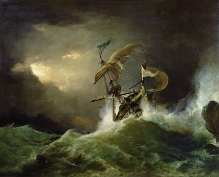 A First rate Man-of-War driven onto a reef of rocks, floundering in a gale