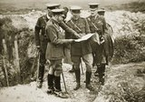 The King on a battlefield with Sir Henry Rawlinson and General Congreve, 1916