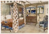 A bedroom for a country house in the Arts and Crafts Style