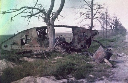 German Tank Wrecks http://www.bridgemanartondemand.com/image/875042/charles-adrien-the-wreck-of-a-german-tank-destroyed-in-battle-on-the-western-front-france-c-1914-18
