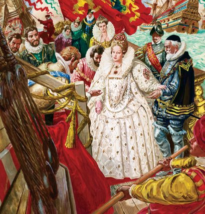 Queen Elizabeth I  disembarking, aided by Sir Walter Raleigh