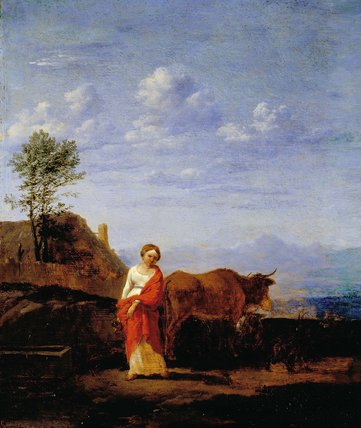 A Woman with Cows on a Road
