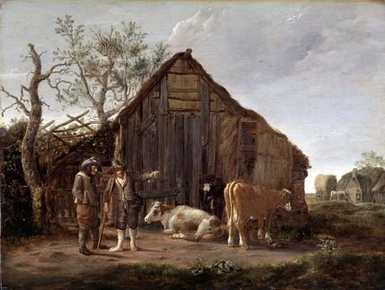 Two Peasants with Cows