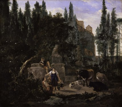 An Italian Landscape with Figures and Cattle