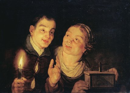 Boy with a Candle and Girl with a Mousetrap